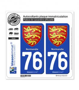 76 Normandie - Les 3 Léopards | Autocollant plaque immatriculation