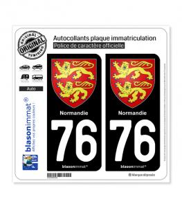 76 Normandie - Armoiries   Autocollant plaque immatriculation