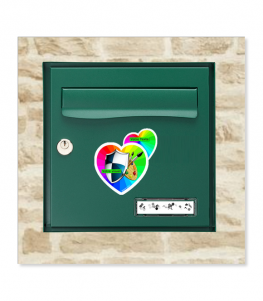 Coeur d'immat Personnalisé sur boîte aux lettres