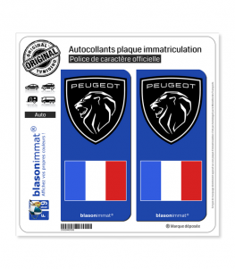 Peugeot - Drapeau France | Autocollant plaque immatriculation