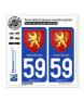 59 Valenciennes - Armoiries | Autocollant plaque immatriculation
