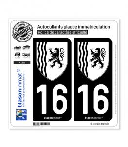 16 Nouvelle-Aquitaine - LogoType N&B | Autocollant plaque immatriculation