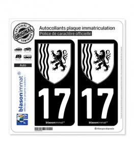 17 Nouvelle-Aquitaine - LogoType N&B | Autocollant plaque immatriculation
