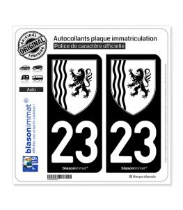 23 Nouvelle-Aquitaine - LogoType N&B | Autocollant plaque immatriculation
