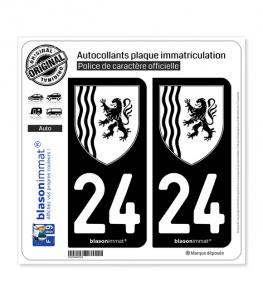 24 Nouvelle-Aquitaine - LogoType N&B | Autocollant plaque immatriculation