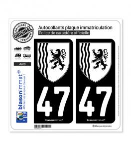47 Nouvelle-Aquitaine - LogoType N&B | Autocollant plaque immatriculation