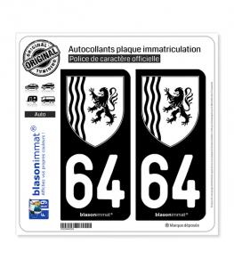 64 Nouvelle-Aquitaine - LogoType N&B | Autocollant plaque immatriculation