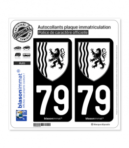 79 Nouvelle-Aquitaine - LogoType N&B | Autocollant plaque immatriculation