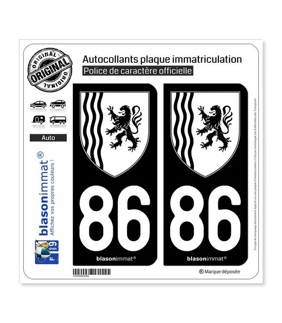86 Nouvelle-Aquitaine - LogoType N&B | Autocollant plaque immatriculation