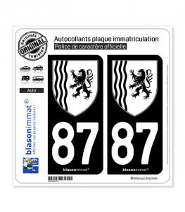 87 Nouvelle-Aquitaine - LogoType N&B | Autocollant plaque immatriculation