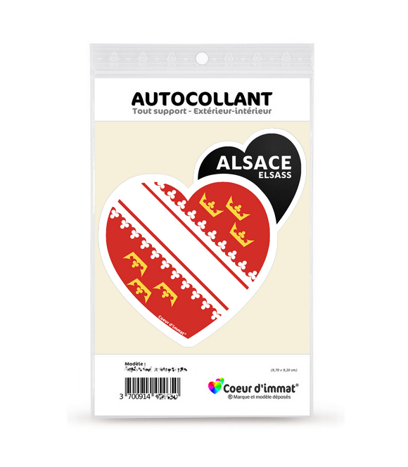 Alsace - Drapée   Autocollant Coeur j'aime