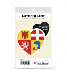 Auvergne-Rhône-Alpes - Blason | Autocollant Coeur j'aime