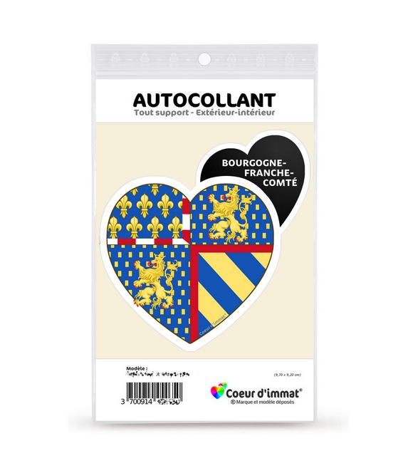 Bourgogne-Franche-Comté - Blason   Autocollant Coeur j'aime