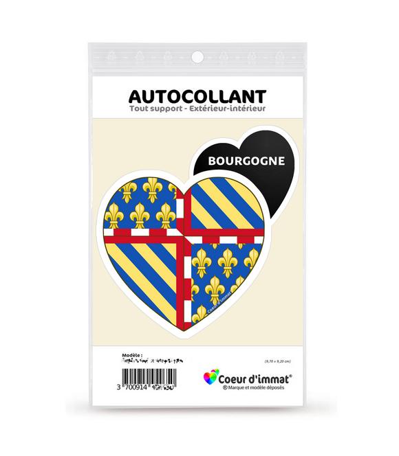 Bourgogne - Blason | Autocollant Coeur j'aime