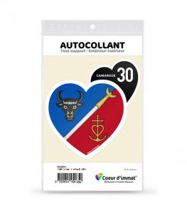 Camargue 30 - Blason | Autocollant Coeur j'aime