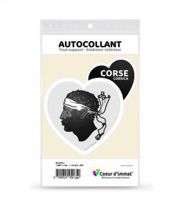 Corse - Blason | Autocollant Coeur j'aime