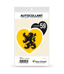 Flandre 59 - Drapée | Autocollant Coeur j'aime