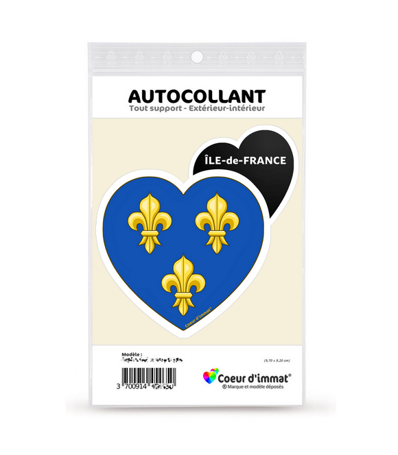 Ile-de-France - Blason   Autocollant Coeur j'aime