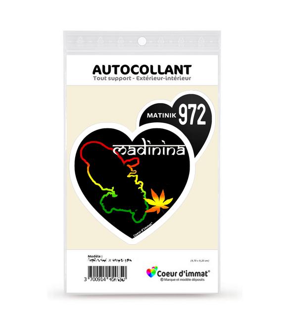 Martinique 972 - Madinina   Autocollant Coeur j'aime