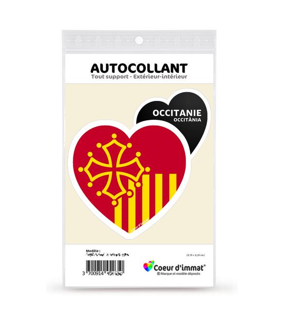 Occitanie - Drapée | Autocollant Coeur j'aime