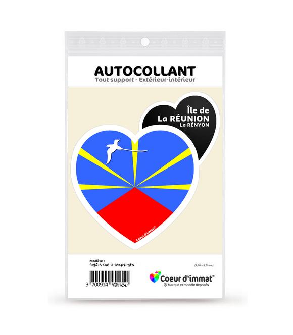 Réunion - Drapée | Autocollant Coeur j'aime