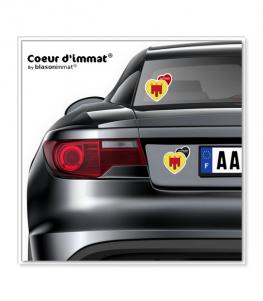 Rhône-Alpes - Blason | Autocollant Coeur j'aime sur véhicule