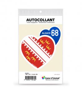 Alsace 68 - Drapée | Autocollant Coeur j'aime