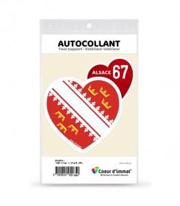 Alsace 67 - Drapée | Autocollant Coeur j'aime