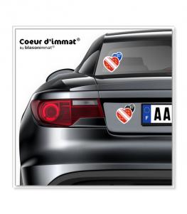 Alsace 68 - Drapée | Autocollant Coeur j'aime sur véhicule