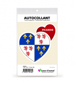 Picardie - Blason   Autocollant Coeur j'aime