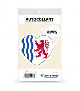 Nouvelle-Aquitaine - Drapée | Autocollant Coeur j'aime