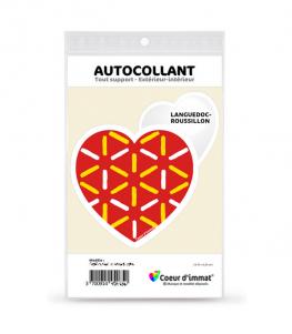 Languedoc-Roussillon - Drapé   Autocollant Coeur j'aime