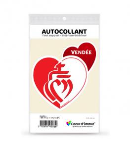 Vendée - Drapée | Autocollant Coeur j'aime