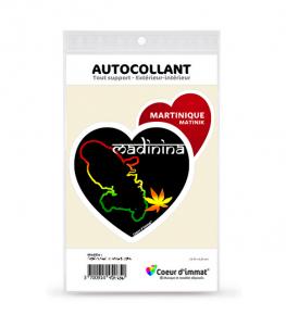 Martinique - Madinina   Autocollant Coeur j'aime