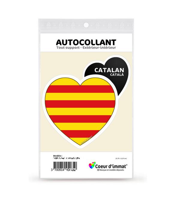 Catalan - Drapé   Autocollant Coeur j'aime