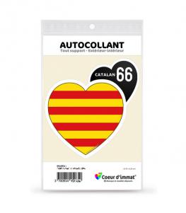 Catalan 66 - Drapé | Autocollant Coeur j'aime