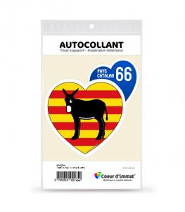 Pays Catalan 66 - Burro Drapé | Autocollant Coeur j'aime