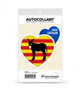 Pays Catalan - Burro Drapé | Autocollant Coeur j'aime