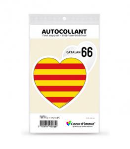 Catalan 66 - Drapé   Autocollant Coeur j'aime