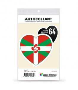 Pays Basque 64 - Drapé | Autocollant Coeur j'aime