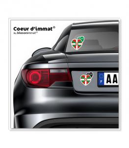 Pays Basque - Drapé | Autocollant Coeur j'aime sur véhicule