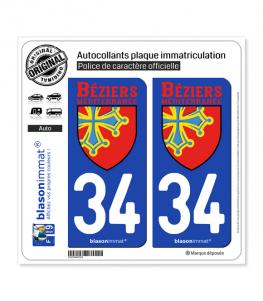 34 Béziers - Méditerranée | Autocollant plaque immatriculation