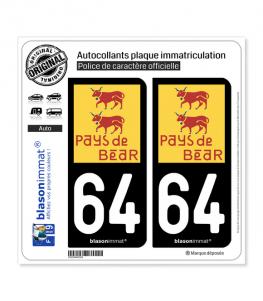 64 Béarn Pays | Autocollant plaque immatriculation