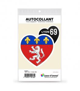 Lyon 69 - Blason | Autocollant Coeur j'aime