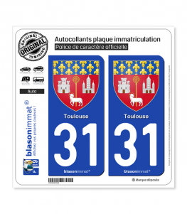 31 Toulouse - Armoiries | Autocollant plaque immatriculation