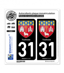 31 Toulouse - Armoiries | Autocollant plaque immatriculation
