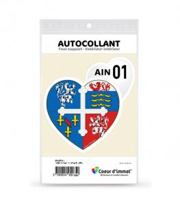 Ain 01 - Blason | Autocollant Coeur j'aime