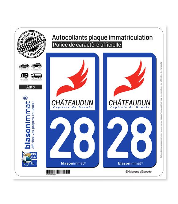 28 Châteaudun - Ville   Autocollant plaque immatriculation