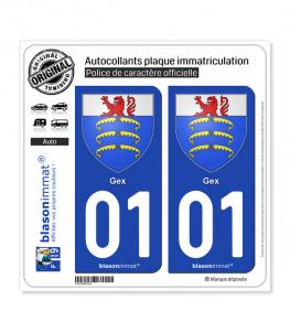 01 Gex - Armoiries | Autocollant plaque immatriculation