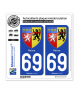 69 Rhône - Armoiries | Autocollant plaque immatriculation